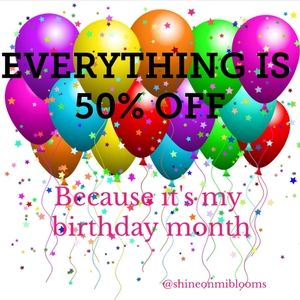🎈🎉EVERYTHING IS 50% OFF Because It's....